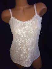ELLE WHITE LACE FRONT ADJUSTABLE STRAP CAMI TANK TOP medium