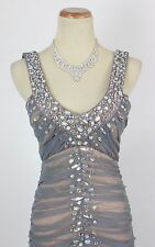 NWT City Triangles $157 Evening Prom Formal Silver Long Dress size 9 Gown Cruise