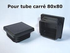 2 Bouchons embout pour tube carré plastique PVC NOIR 80x80 mm