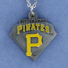 PITTSBURGH PIRATES Necklace - Enamel Pewter Charm Pendant Pro Baseball Logo NEW