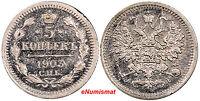 Russia Nicholas II Silver 1903 СПБ АР 5 Kopeks HIGH GRADE Y# 19a.1