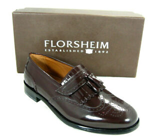 Florsheim Burgundy Leather Brinson Wingtip Kilted Tassel Loafer Shoe Sz 10 D