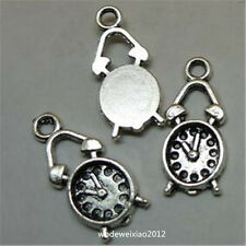 25pc Retro Tibetan Silver clock Charm Beads Pendant Jewellery Making JP740
