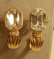 ORECCHINI A CLIP METALLO DORATO DESIGN OTTAGONALE ANNI '70 vintage earrings