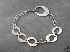 """Sterling silver high polish circle chain link bracelet just over 7"""""""