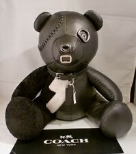 "NWT COACH Black Leather Teddy Bear ""OUTLAW"" Collectible LIMITED EDITION 55359"