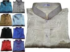 Mens Jacquard Weave Mandarin Thai-Silk-Shirts / Small - XXXL / Short-Long Sleeve