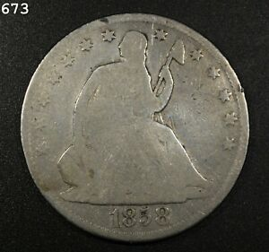 1858 Liberty Seated Half Dollar *Free SH After 1st Item*
