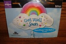"#1 Super Shape 24""in. GET WELL SOON Rainbow design Foil Balloon Helium or Air"