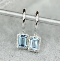 4.75 Ct Trillion Cut Aquamarine Drop & Dangle Earrings 14K White Gold Finish