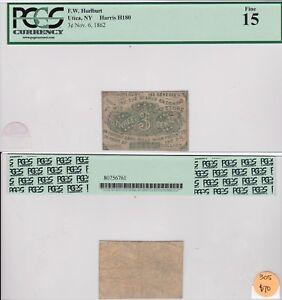 Utica, Ny small 3 cent scrip, Harris H180, 1862, PCGS 15