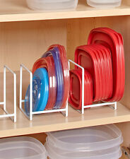 Set Of 4 Small White Dish Lid Organizers Rack Holder Cabinet Kitchen Storage