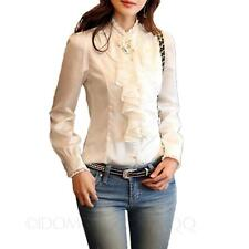 Winter Shirt Career Shiny Womens Blouse Ruffle Collar Victorian Ladies Top Size White 8