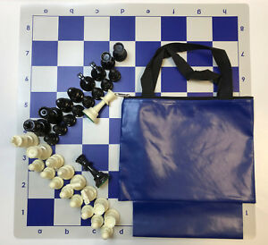 Chess Set Combo: Blue Bag w/ Loop,Blue Board, and Tournament Size Chess Pieces