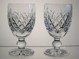"""DONEGAL WATERFORD CRYSTAL Claret Wines 4 3/4"""" Signed, SET of TWO"""