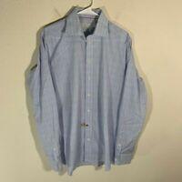 Eton Contemporary Blue Purple Plaid Dress Shirt 16 41