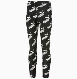 Puma Girls Amplified 3/4 Leggings Bottoms Sport Black All Over Print 581448