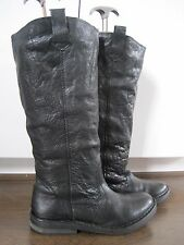 Women's TOPSHOP black leather knee length flat riding style boots size 5 (38)*