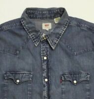 LEVI'S DENIM SHIRT MEN'S SLIM FIT POPPERS XL MID BLUE STRAUSS LSHT681