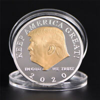 US President Donald Trump 2020 Silver&Gold Plated Challenge Coin Non-currency LR
