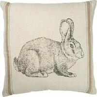"""Primitives by Kathy Bunny Pillow for Easter Spring Burlap Brown & Tan 15"""" Square"""