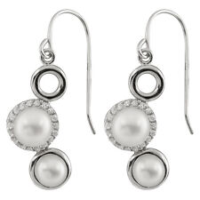 Fancy sterling silver rhodium plated hook earrings with freshwater pearl ESR-170