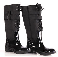Flache kniehohe Damen-Stiefel mit Reißverschluss