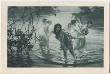 ANTIQUE ARTISTIC NUDE WOMEN LAKE POND NATURE ART NOUVEAU SWIM BATHING ART PRINT