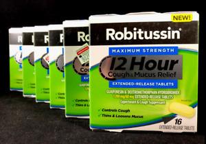 Robitussin Maximum Strength 12hr Cough Mucus Relief 16ct ea EXP 4/21 (LOT OF 6)