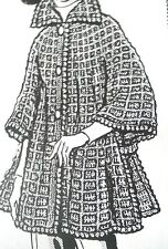 404 Vintage Laura wheeler PONCHO-CAPE Patttern to Crochet (Reproduction) SZ 8-14