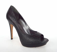 VIA SPIGA Size 8.5 Black Snake Print Leather Platform Heels Pumps Shoes 8 1/2