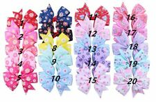 NEW! 20pcs Handmade Bow Hair Clip Alligator Clips Girls Ribbon Kids Sides Access