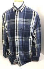 Levi's Jeans Blue Plaid Long Sleeve Button Front Heavy Soft Cotton Shirt Men's M