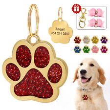 Dog Name Tags Personalized Glitter Rhinestone Paw Dog ID Tag With Free Gift Bows