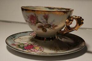 Vintage Tea Cup & Saucer Irridisent Roses Gold
