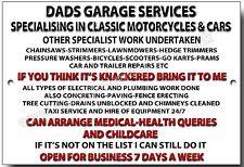 DADS GARAGE SERVICES HUMEROUS METAL SIGN.DAD GIFT,DIY,WORHSHOP,HANDYMAN.