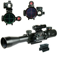 3-9X40 illuminated Tactical Rifle Scope + Red Laser-Dot Sight with Rail Riser