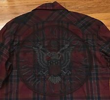 AFFLICTION Black Premium Ltd Ed Shirt Slim Snap Buttons Long Sleeve Maroon Sz M
