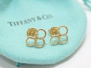 Tiffany & Co. 18K Yellow Gold Peretti Quadrifoglio Flower Clover Stud Earrings
