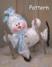 PATTERN Christmas Ski Snowman Raggedy Cloth Doll Holiday Winter Folk Decor #40