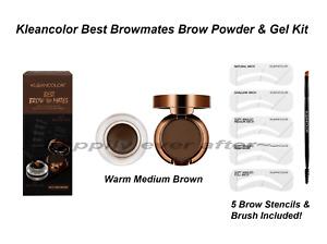 KLEANCOLOR BEST BROW MATES BROW POWDER & GEL KIT, Waterproof, Warm Medium Brown