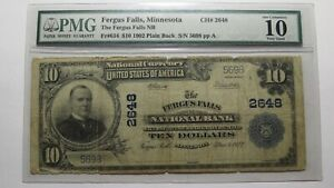 $10 1902 Fergus Falls Minnesota MN National Currency Bank Note Bill Ch. #2648