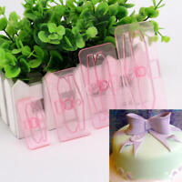 4pcs Bow Cake Mould Decor Mold Icing Cookie Sugarcraft Fondant Embosser Cutter