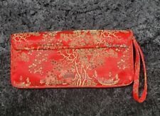 Lord & Taylor Red Embroidered Oriental Print Pocketbook Wristlet Clutch