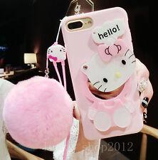 Adorable Hello Kitty Correa De Bola De Felpa De Espejo Funda Para iPhone 11 Pro Max XR 8+