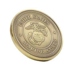 Gold Put Plated On Armor Of God Marine Corps Helmet of Salvation Challenge Coin