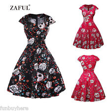 Vintage Retro Dress Skull Printing Housewife 50s Sweetheart Rockabilly Dresses