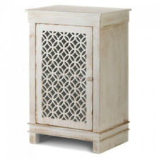 Beautiful Distressed Antique-White Wood Storage Cabinet with Geometric Pattern