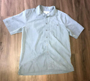 Island Republic Blue Button Up Short Sleeve Collared Shirt Size Large Mens
