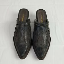 Roper Womens US Size 8.5 Faux Leather Western Slip On Heels Clogs